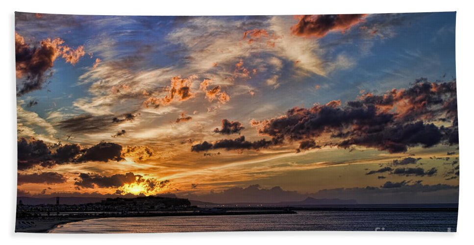 Sunset Bath Sheet featuring the photograph Sunset Over Rethymno Crete by David Smith