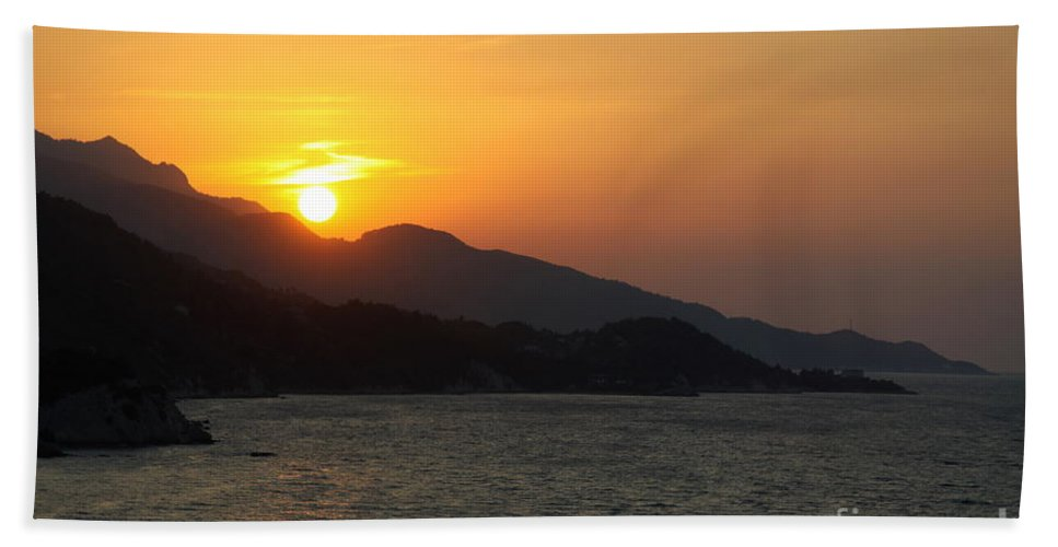Sunset Bath Sheet featuring the photograph Sunset Over Samos by Christiane Schulze Art And Photography