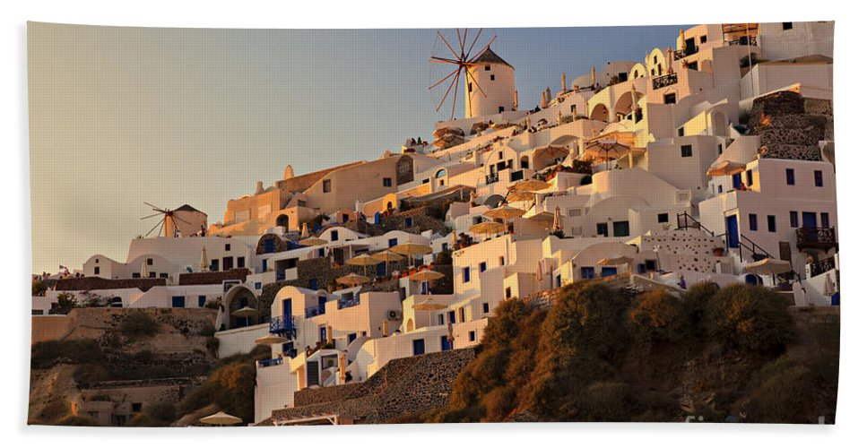 Greece Hand Towel featuring the photograph Sunset Over Santorini Village by Sophie McAulay