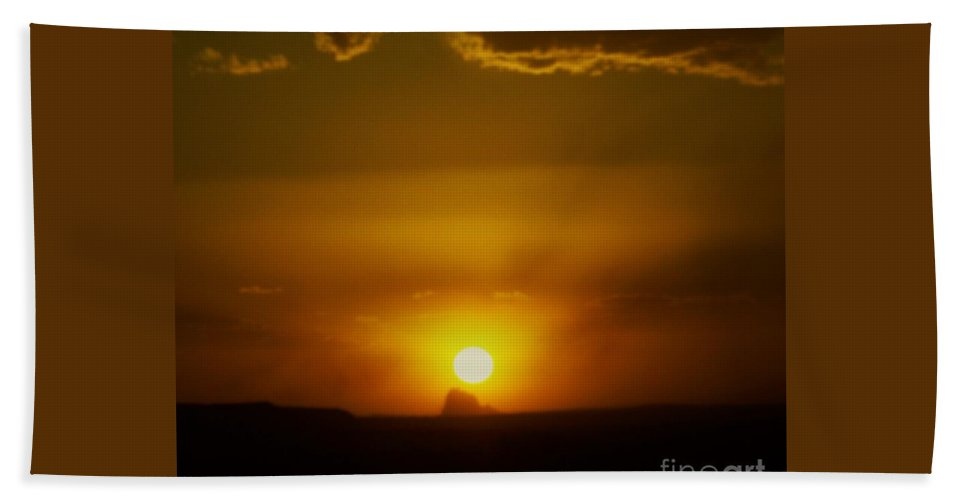 Shiprock Bath Sheet featuring the photograph Sunset Over Shiprock by Jewell McChesney