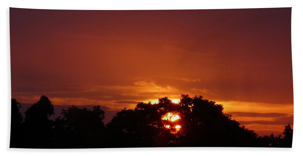 Sunset Hand Towel featuring the photograph Sunset Over Sutton Surrey by Lance Sheridan-Peel