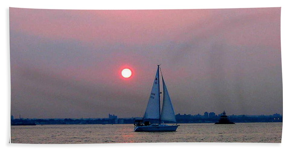 Sunset Bath Sheet featuring the photograph Sunset Over The Bay by Dora Sofia Caputo Photographic Design and Fine Art