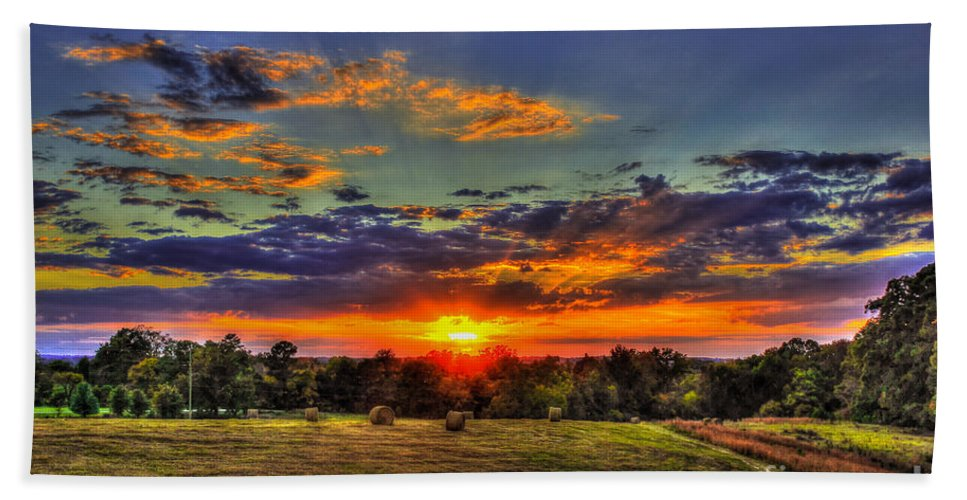 Reid Callaway Sunset Hand Towel featuring the photograph Sunset Over The Hay Field by Reid Callaway