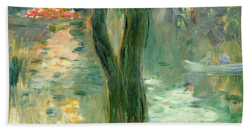 Setting Sun; Impressionist; Reflection Bath Sheet featuring the painting Sunset Over The Lake Bois De Boulogne by Berthe Morisot