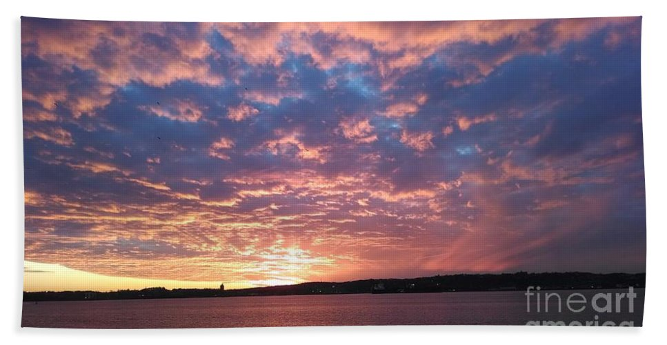 Sunset Over The Narrows Waterway Hand Towel featuring the photograph Sunset Over The Narrows Waterway by John Telfer