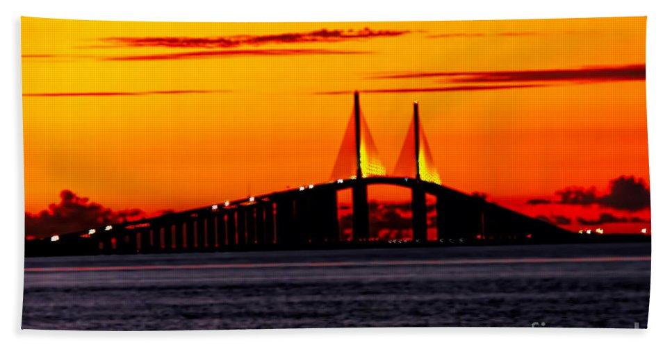 Skyway Bridge Bath Sheet featuring the photograph Sunset Over The Skyway Bridge Crop by Barbara Bowen