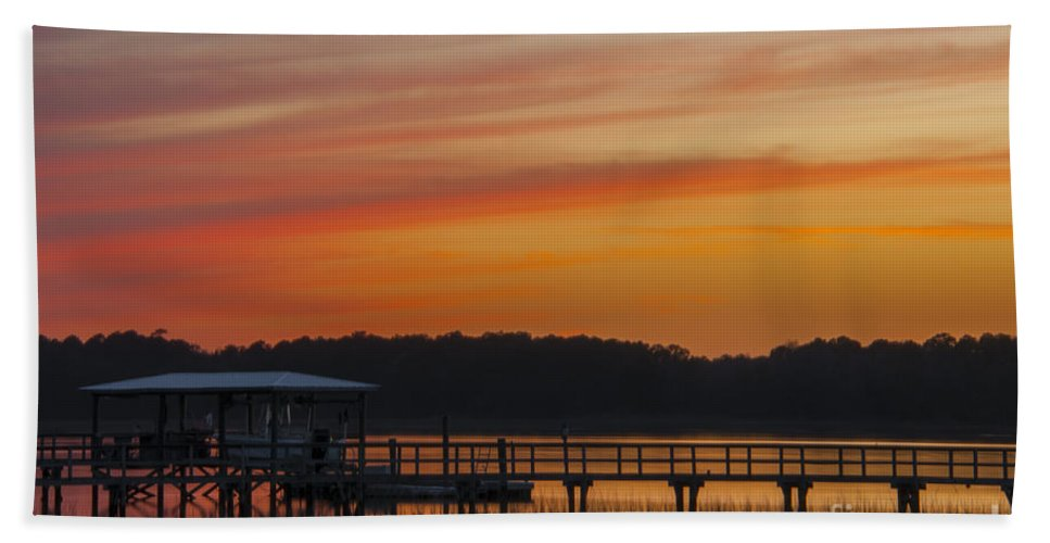 Sunset Hand Towel featuring the photograph Sunset Over The Wando River by Dale Powell