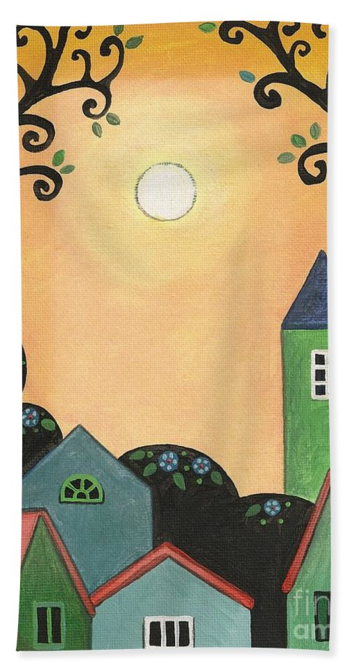 Print Hand Towel featuring the painting Sunset Over Town by Margaryta Yermolayeva