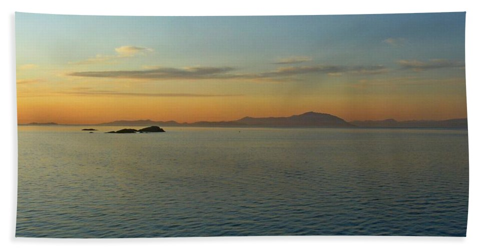Sunset Hand Towel featuring the photograph Sunset Over Vancouver Island by Lena Photo Art