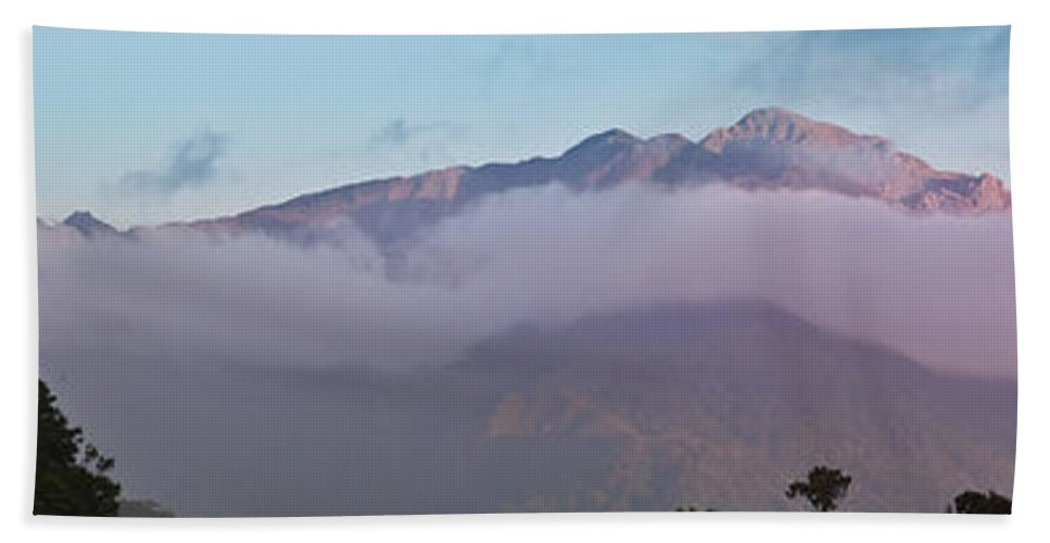 South Island Hand Towel featuring the photograph Sunset Panorama Mountain Range In Paparoa Np Nz by Stephan Pietzko