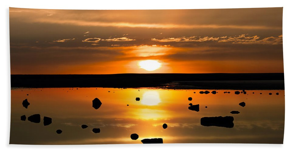 Alien Bath Sheet featuring the photograph Sunset Reflections by Leland D Howard