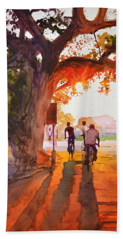 Watercolor Bath Sheet featuring the painting Sunset Riders by Ramesh Jhawar