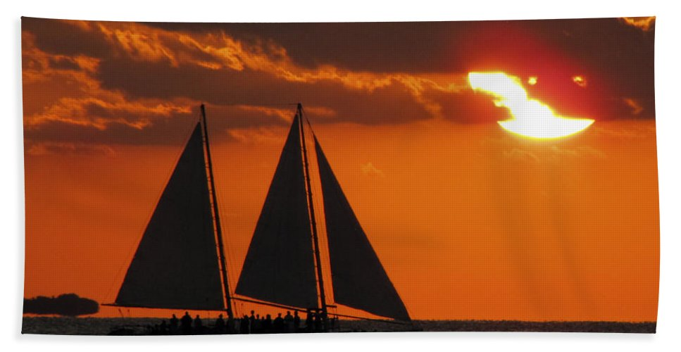 Sunset Hand Towel featuring the photograph Key West Sunset Sail 3 by Bob Slitzan
