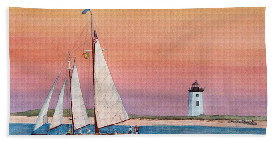 Sailboat Bath Sheet featuring the painting Sunset Sail by Sharon Farber