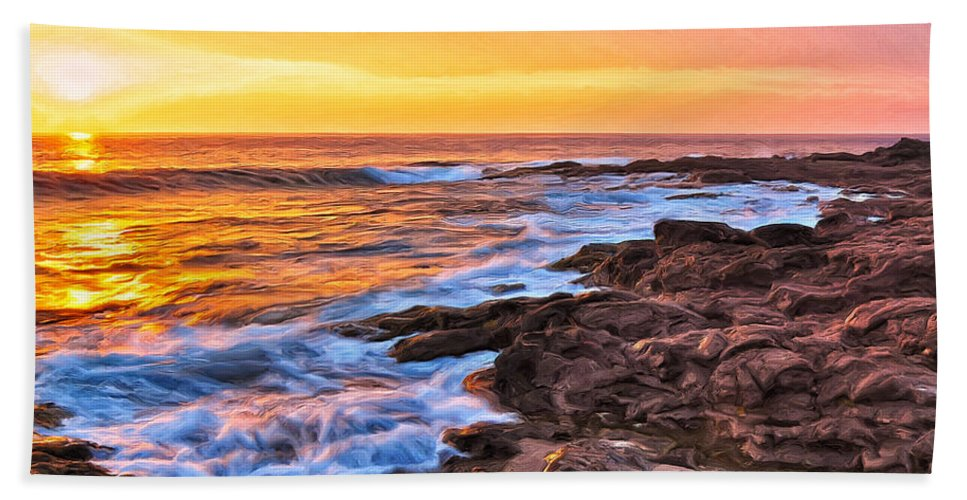 Sunset Hand Towel featuring the painting Sunset Shore Break by Dominic Piperata