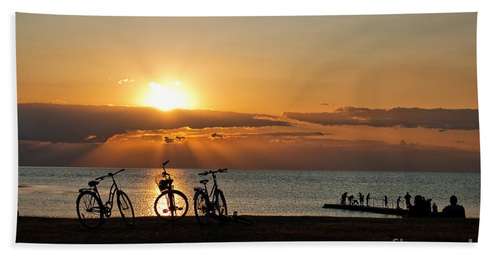 Bikes Bath Sheet featuring the photograph Sunset Silhouettes by Antony McAulay