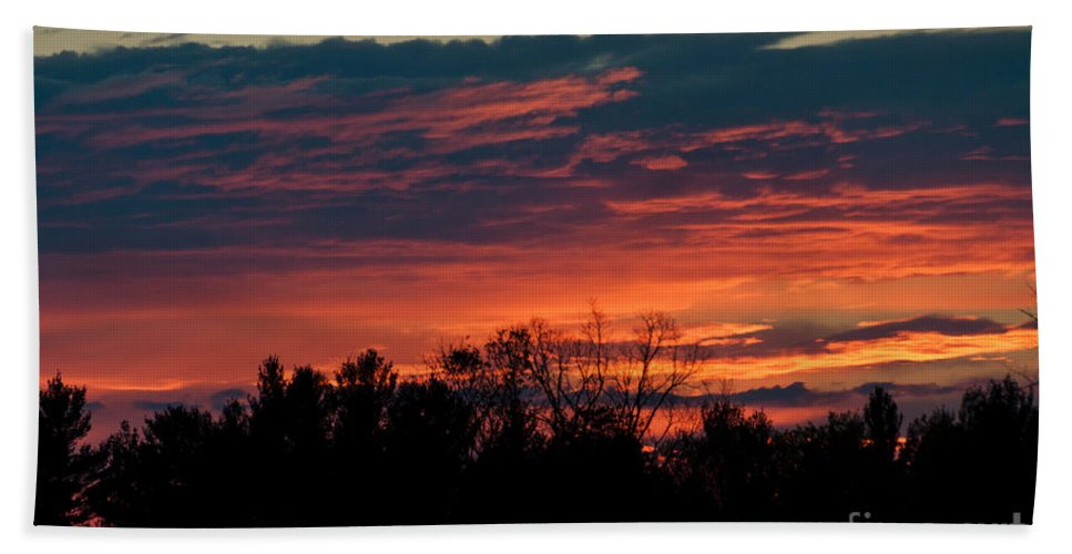 Sunset Sky Hand Towel featuring the photograph Sunset Sky by Cheryl Baxter