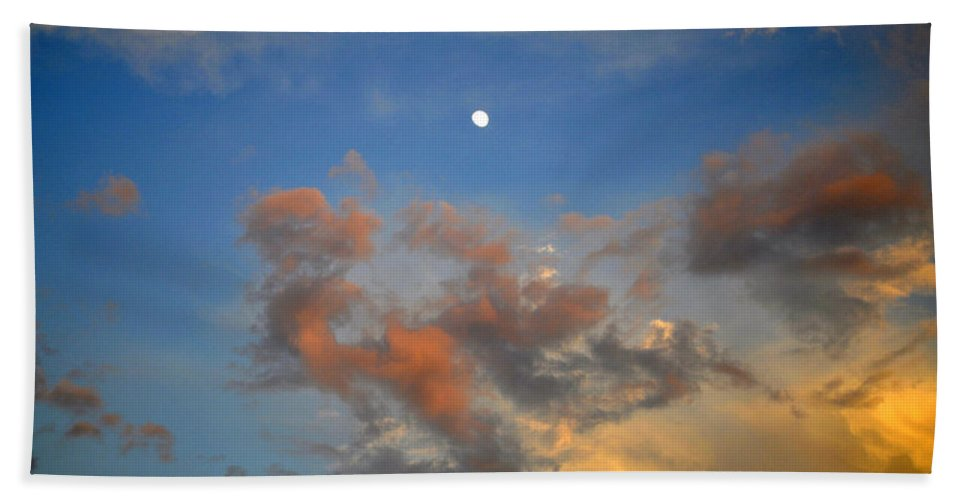 Color Hand Towel featuring the photograph Sunset Sky With Gibbous Moon And Clouds Usa by Sally Rockefeller