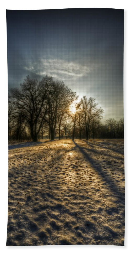 Background Hand Towel featuring the digital art Sunset Snow Trees by Nathan Wright