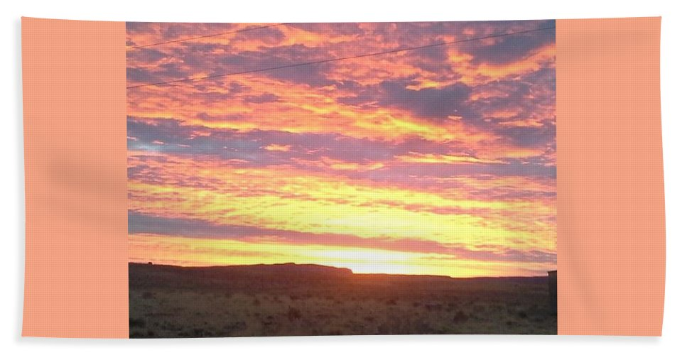 Orange Sunset On The Reservation Hand Towel featuring the photograph Sunset by Sonya Begay