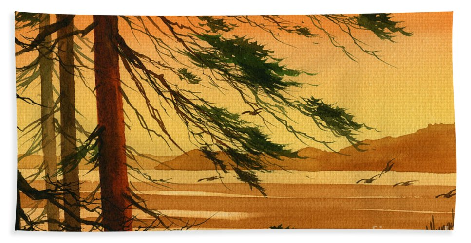 Landscape Fine Art Print Hand Towel featuring the painting Sunset Splendor by James Williamson