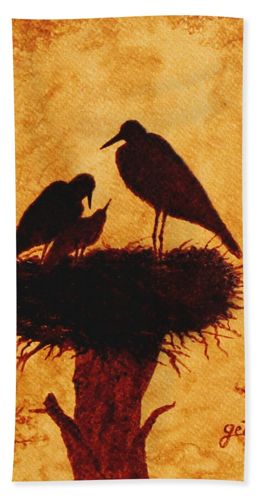 Stork Hand Towel featuring the painting Sunset Stork Family Silhouettes by Georgeta Blanaru