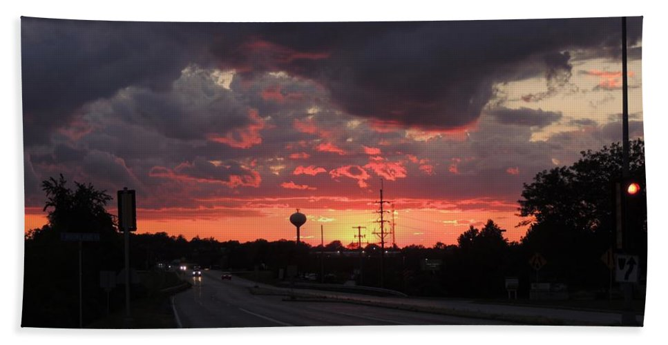 Sunset Bath Sheet featuring the photograph Black Cloud Cometh by Red Cross