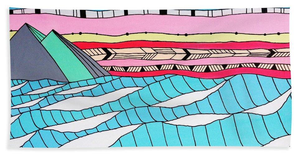 Waves Bath Sheet featuring the digital art Sunset Surf by MGL Meiklejohn Graphics Licensing