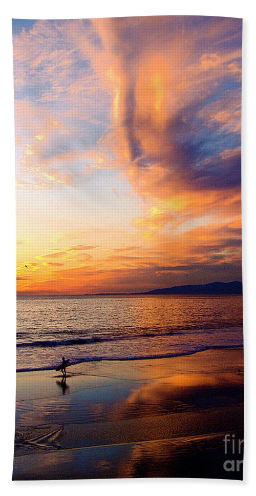 Surf Hand Towel featuring the photograph Sunset Surfing by Jerome Stumphauzer