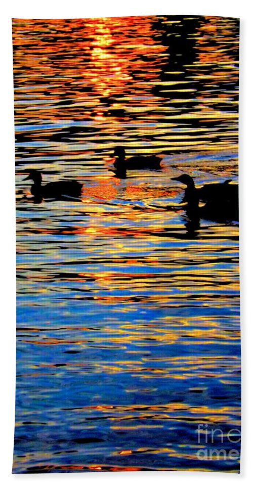 Sunset Bath Sheet featuring the photograph Sunset Swim by Robyn King