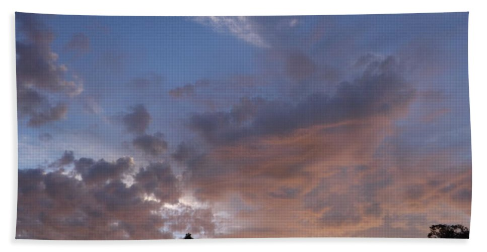 Sun Hand Towel featuring the photograph Sunset Through The Trees by Jussta Jussta