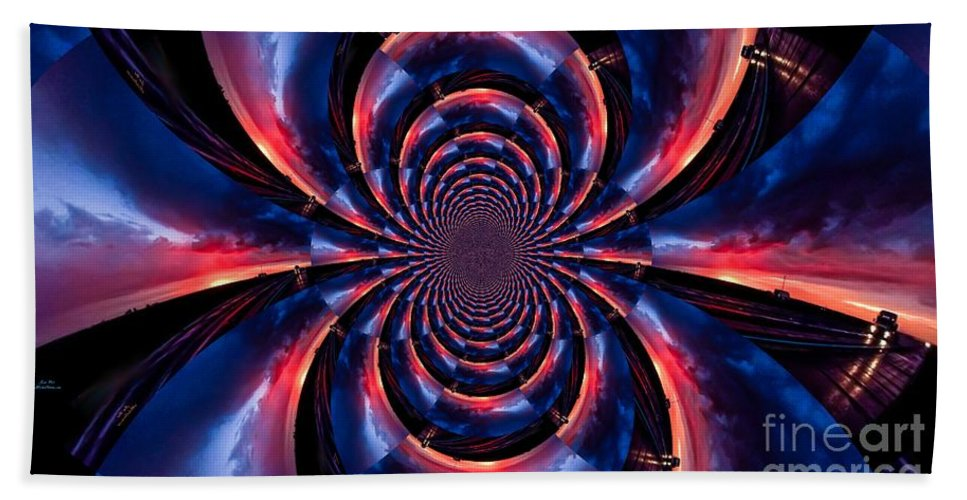 Abstract Hand Towel featuring the photograph Sunset Trucker Illusion 3 by Jesse Post