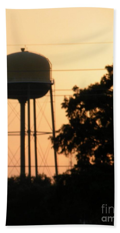 Water Tower Bath Sheet featuring the photograph Sunset Water Tower by Joseph Baril
