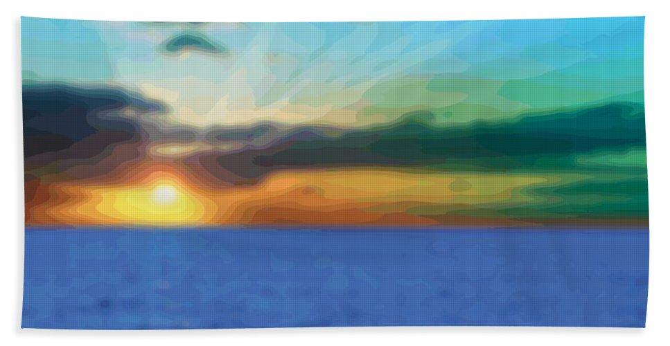 Abstract Bath Sheet featuring the digital art Sunset Waters by James Kramer
