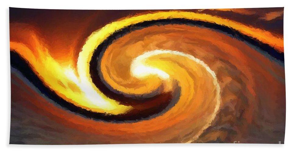 Sunset Bath Sheet featuring the digital art Sunset Wave by Chris Butler