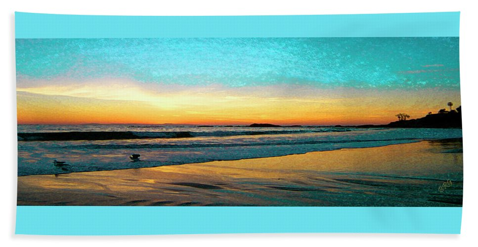 Beach Hand Towel featuring the photograph Sunset With Birds by Ben and Raisa Gertsberg