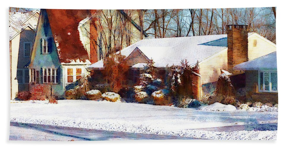 Street Bath Sheet featuring the photograph Sunshine After The Snow by Susan Savad