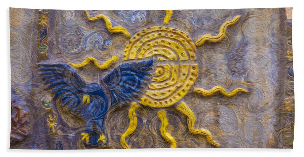 Georgia Okeefe Bath Sheet featuring the painting Sunshine Loving A Bluebird by Omaste Witkowski