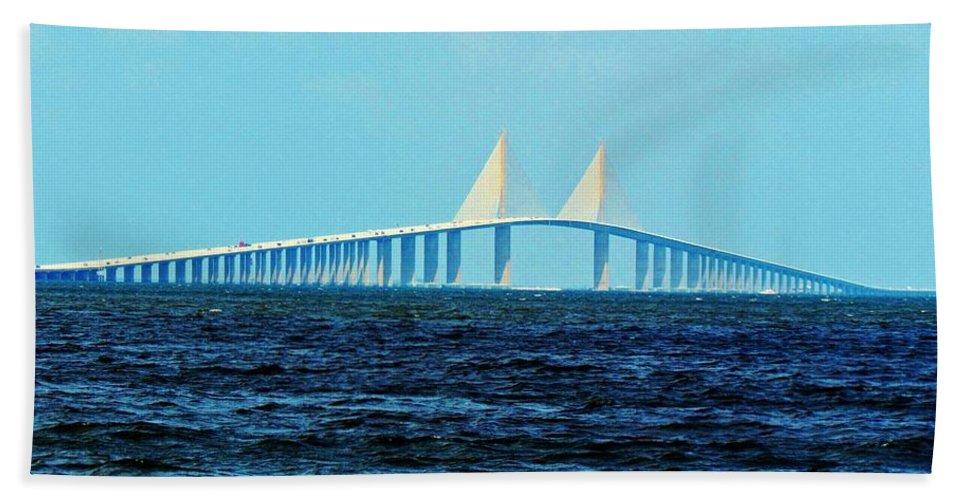 Florida Hand Towel featuring the photograph Sunshine Skyway Bridge by Cynthia Guinn