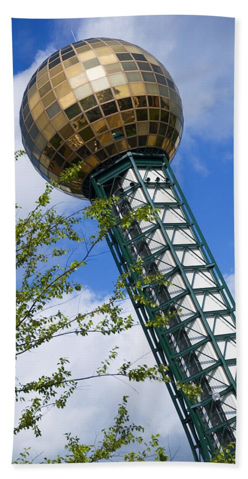 Sunsphere Hand Towel featuring the photograph Sunsphere 1982 World Fair by Bob Pardue