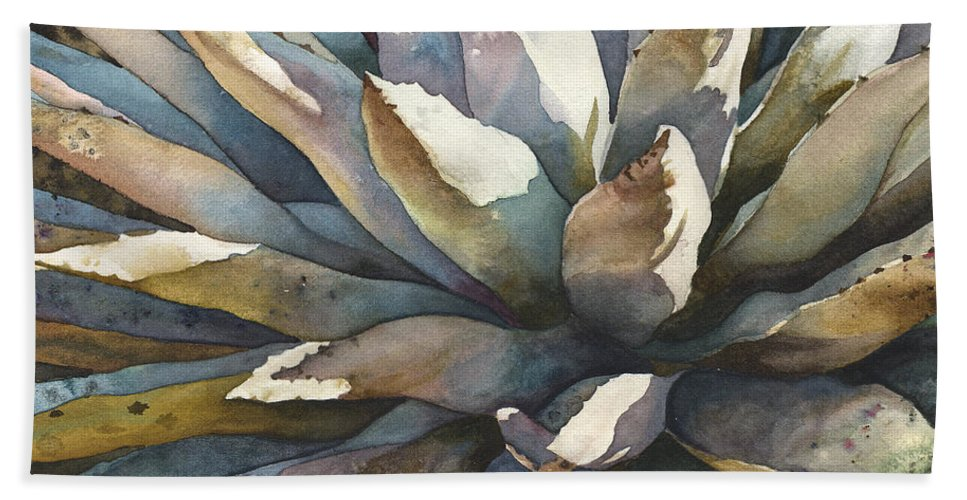 Yucca Plant Painting Bath Towel featuring the painting Sunstruck Yucca by Anne Gifford