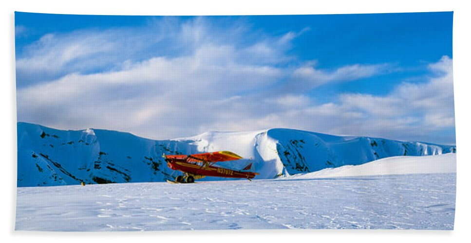 Photography Hand Towel featuring the photograph Super Cub Piper Bush Airplane by Panoramic Images