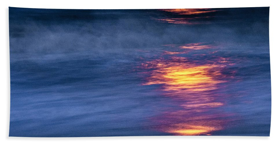 Surf Bath Sheet featuring the photograph Super Moon Reflection by David Kay