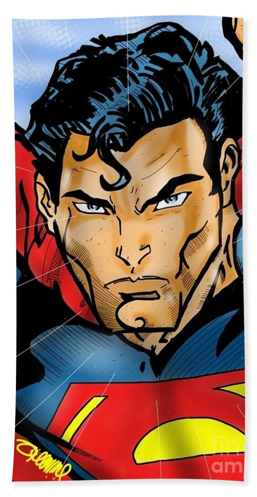 Superman Dc Comics Movies Character Hand Towel featuring the digital art Superman by Tommy Villarreal