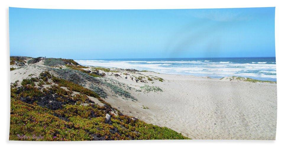 Barbara Snyder Hand Towel featuring the digital art Surf Beach Lompoc California 2 by Barbara Snyder