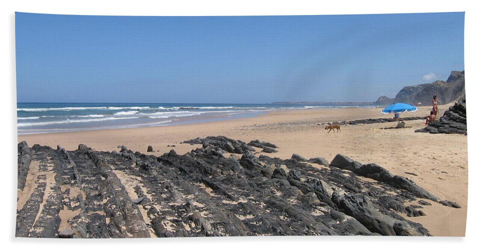 Portugal Hand Towel featuring the photograph Surf Beach Portugal by Kimberly Maxwell Grantier