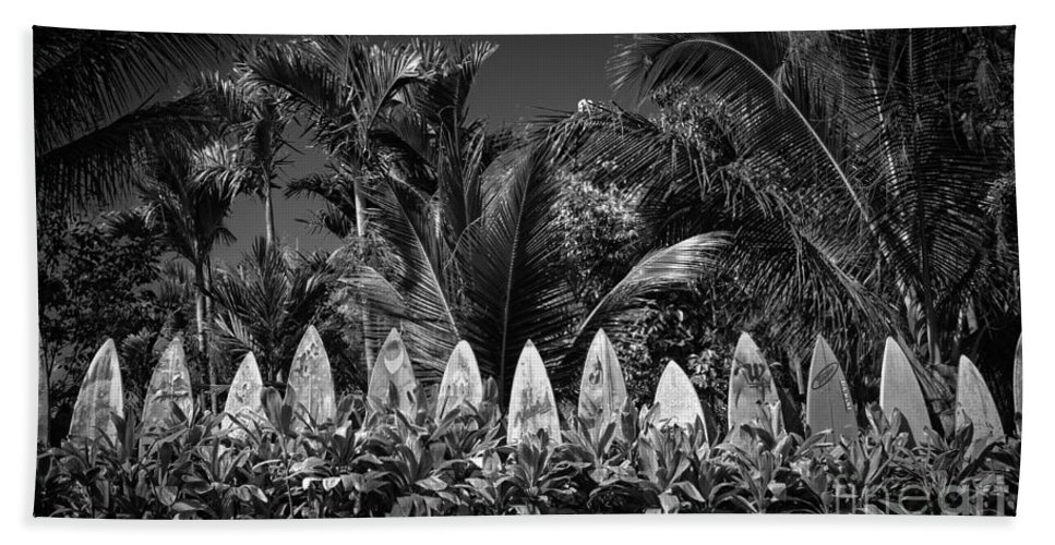 Hawaii Bath Towel featuring the photograph Surf Board Fence Maui Hawaii Black And White by Edward Fielding