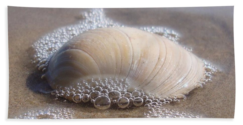 Bubbles Hand Towel featuring the photograph Surf Bubbles by Annie Adkins