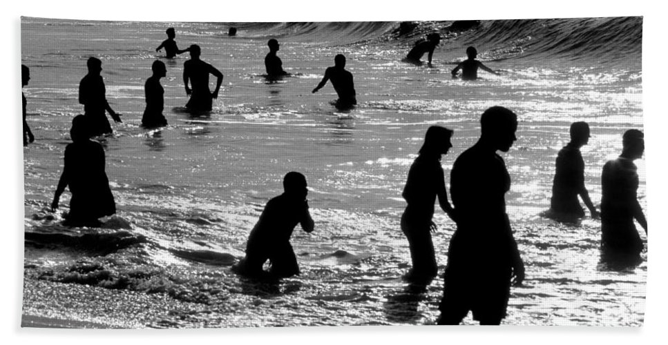 Silhouettes Swimmers Hand Towel featuring the photograph Surf Swimmers by Sean Davey