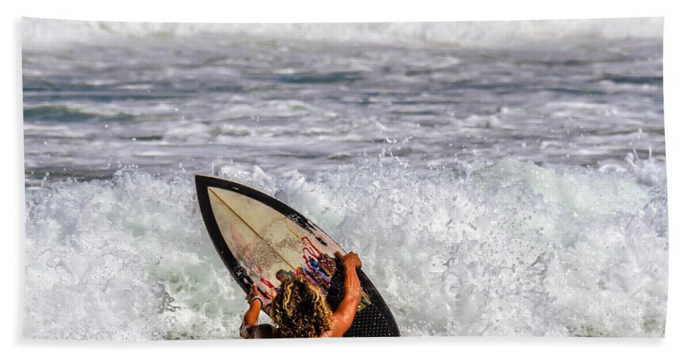 Surfer Hand Towel featuring the photograph Surfer Catch The Wave by Viktor Birkus